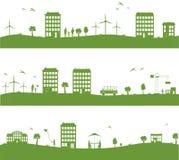 Stad met beeldverhaalhuizen, groen ecopanorama Royalty-vrije Stock Foto's