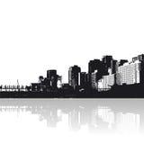 Stad met bezinning royalty-vrije illustratie