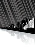 Stad met bezinning en lijnen. Royalty-vrije Stock Foto's