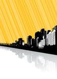 Stad met bezinning en lijnen. Royalty-vrije Stock Afbeeldingen