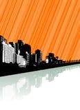 Stad met bezinning en lijnen. Stock Foto