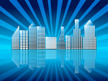 Stad met bezinningsblauw Royalty-vrije Stock Afbeeldingen
