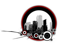 Stad met cirkels. Vector stock illustratie