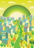 Stad met een groene regenboog Stock Afbeeldingen