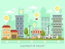 Stad of stad met energie - besparings gloeilampen royalty-vrije illustratie