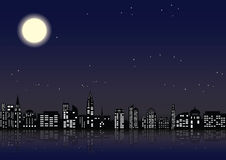 Stad met geglanste vensters in gebouwen vector illustratie