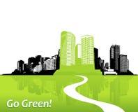 Stad met groen gras. Stock Afbeelding