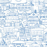 Stad met hand getrokken stedelijke het panorama naadloze achtergrond van de gebouwen vectorkrabbel stock illustratie