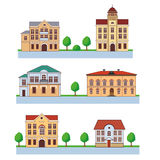 Stad met Kleurrijke Huizen Naadloos patroon Vectorbeeldverhaalillustratie op een Groene Achtergrond Stad en Land Stock Foto