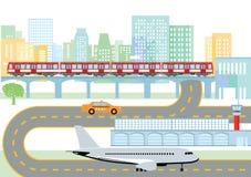 Stad met luchthaven en metro vector illustratie
