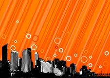 Stad met oranje lijnen. Vector Stock Fotografie