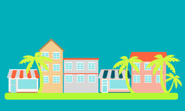 Stad met palmen Stock Afbeeldingen
