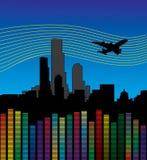 Stad met vliegtuig en equaliser, volume. Stock Foto's