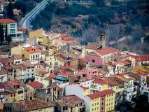 Stad Monistrol de Montserrat Royaltyfri Foto
