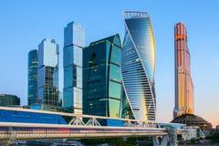 stad moscow russia Internationell affärsmitt för Moskva på soluppgång Royaltyfri Foto