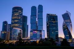 stad moscow russia Internationell affärsmitt för Moskva på soluppgång Arkivbilder