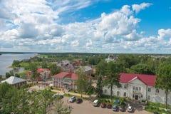 Stad Myshkin och Volgaet River Royaltyfria Bilder
