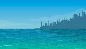stad nära hav också vektor för coreldrawillustration Royaltyfri Fotografi