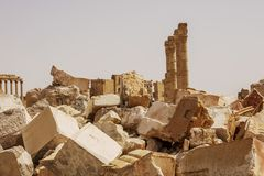 Stad nära Palmyra i Syrien arkivbild