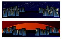 Stad in nacht, Netto banner, kleurrijk, Achtergrond, illusie, hulp, blauw, samenvatting, exclusieve illustratie, vector, nieuw, vector illustratie