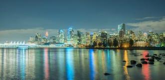 Stad nacht-Vancouver Van de binnenstad Stock Afbeelding