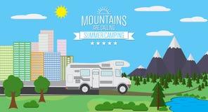 Stad och berg med illustrationen för vektor för skog- och sjölandskaplägenhet, begreppet för ferie och semester som campar och fo stock illustrationer