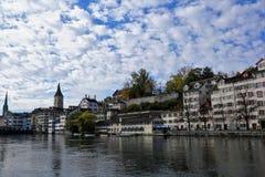 Stad och kanton för ZÃ-¼ rik i Schweiz i Europa arkivbilder