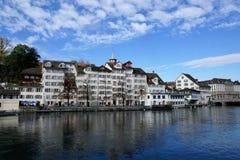 Stad och kanton för ZÃ-¼ rik i Schweiz i Europa arkivfoto