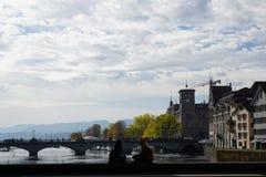 Stad och kanton för ZÃ-¼ rik i Schweiz i Europa royaltyfria foton