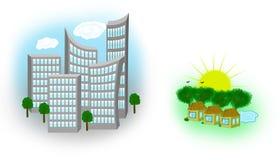 Stad och land Arkivfoton