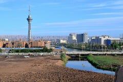 Stad och torn av Kashgar, Xinjiang, Kina, Uyghur autonom region royaltyfria foton