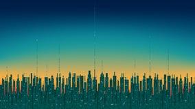 Stad online Abstracte futuristische digitale stad, hi-tech informatieachtergrond Royalty-vrije Stock Foto