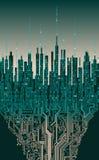 Stad online Abstracte futuristische digitale stad, hi-tech informatieachtergrond Stock Foto