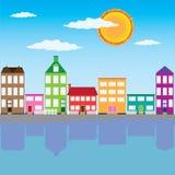 Stad op de rivier Royalty-vrije Stock Fotografie