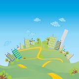 Stad op een heuvel royalty-vrije illustratie