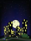 Stad op een heuvel, nachtscène Stock Foto's