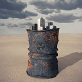 Stad op een vat van giftig afval royalty-vrije stock foto's