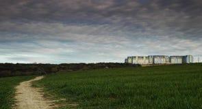 Stad op horizon Stock Afbeeldingen