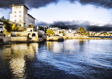 Stad op kust Majorca Stock Foto's