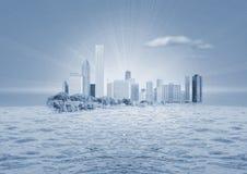 Stad op water royalty-vrije illustratie