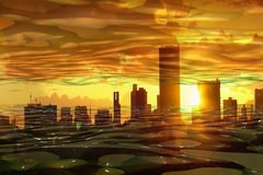Stad op zonsondergang royalty-vrije illustratie