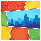 Stad på den komiska sidan Komiker bokar ramsammansättning på remsahalvtonbakgrund Tecknade filmen bokar vektormallorienteringen royaltyfri illustrationer