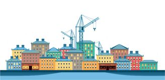 Stad på en vit bakgrund stock illustrationer