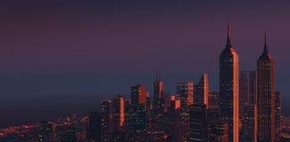 Stad på skymning 2 Arkivbilder