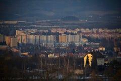 Stad på solnedgången royaltyfri fotografi