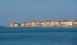 Stad Piran, Adriatiskt hav, Slovenien Fotografering för Bildbyråer
