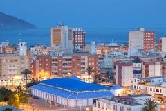 Stad Puerto de Mazarron på skymning, Spanien Fotografering för Bildbyråer