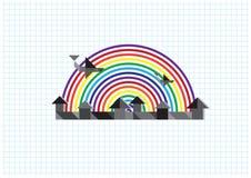 Stad, regenboog, vliegtuig Stock Foto's