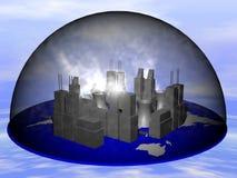 Stad in Rook stock illustratie