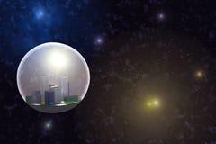 Stad in ruimte royalty-vrije illustratie